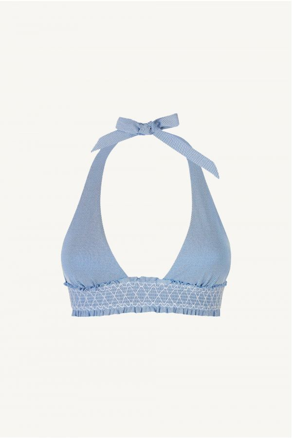 Cassis Smocked Square Halter Padded Top