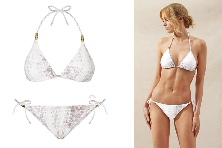 Core Snake Print Textured Rope Padded Triangle Bikini