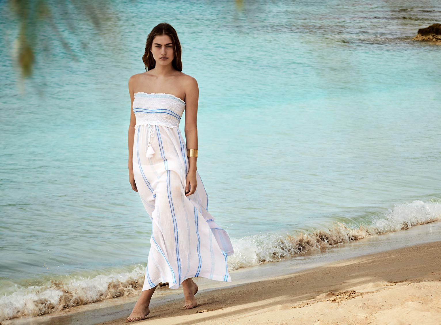 Gili Islands Smocked Bandeau Maxi Dress